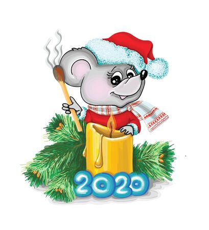 vector illustrations mouse a christmas candle, 2020, zodiac signs