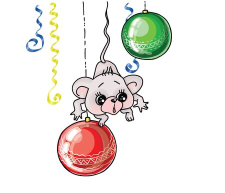 vector illustrations christmas tree toys and mouse sign of the east horoscope Illustration