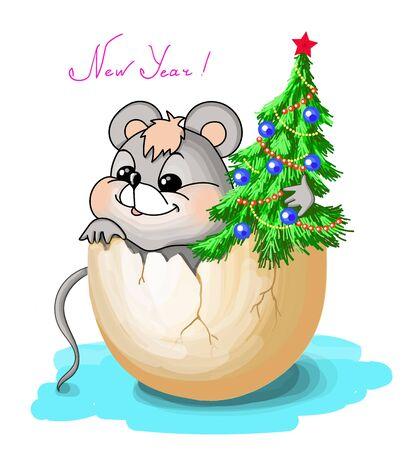 . New year. Vector illustration Vector illustration christmas tree mouse Illustration