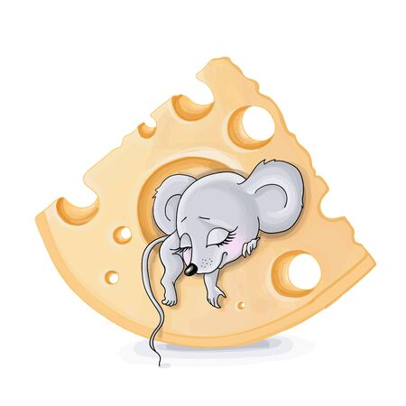 vector illustrations of cute mouse in cheese,east