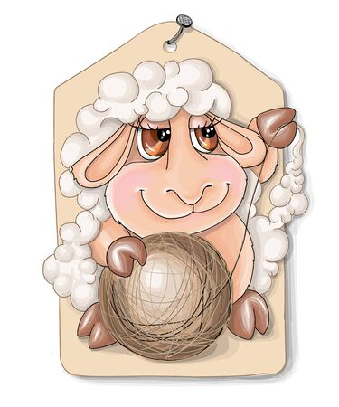 vector illustrations cutelittle sheep witha ball of wool