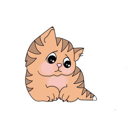 vector illustrations imaje of cartoon ginger tabby kitten white background Çizim