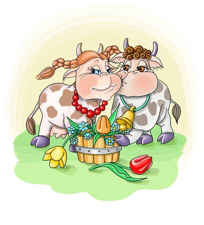 vector illustration bull in love congratulates the cow with flowers