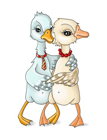 vector illustrations two geese and cuddle
