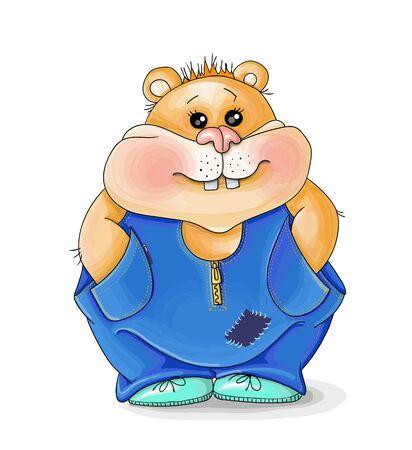 vector illustration valentine image of a cartoon hamster in geans,background floral