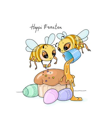 vector illustration Heppy Easter two bees decorate Easter honey