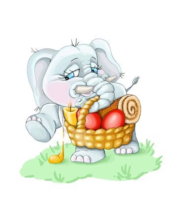 vector illustration Happi Easter,pink baby elephant carries a basket with red eggs,background Çizim