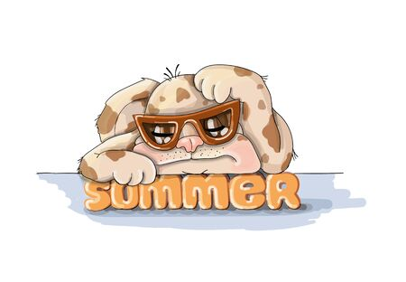 vector illustration spotted dog resting,sommer vacation nice