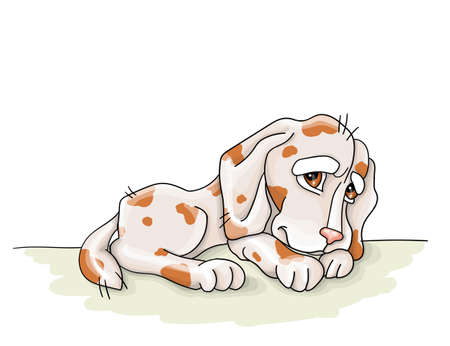 vector illustration.spotted dog resting,sommer vacationengoy