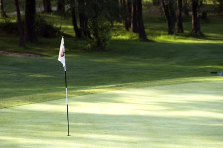 open country: Golf flag on green