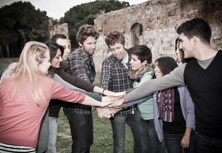 A group of Multiracial Students with Hands on Stack Stock Photo - 11510980