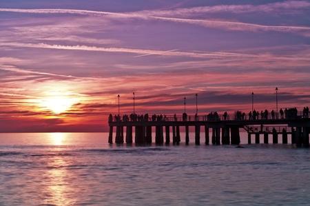 huntington beach: Pier at sunset Stock Photo
