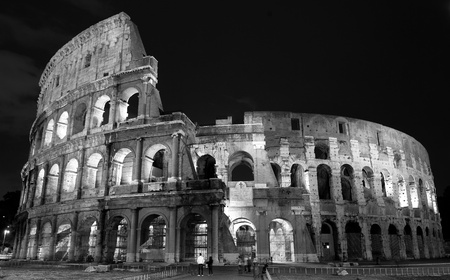historical landmark: night view of the colosseum in Rome Italy Stock Photo