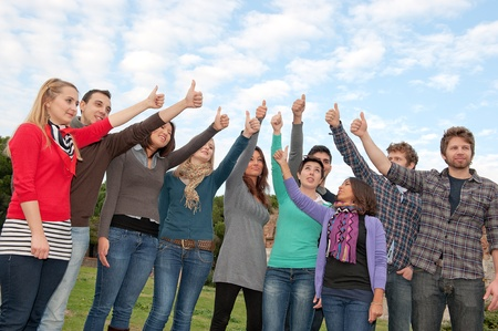 Multi- Ethnic Group Thumbs Up Outdoor Stock Photo