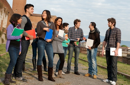 Multi-Ethnic Group of Students at park Stock Photo