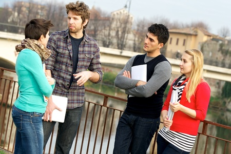 Multicultural College Students at Park,Tuscany,Italy