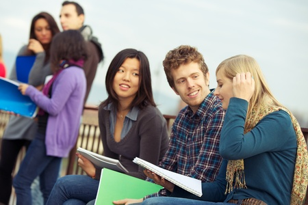 Multicultural College Students at Park,Tuscany,Italy Stock Photo - 13423765