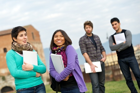 Multicultural College Students at Park,Tuscany,Italy Stock Photo - 13423753