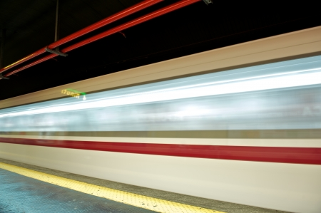motion blur outdoor of high speed train in subway, Rome photo