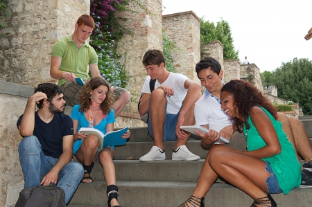 Multicultural Group of College Students,Italy Stock Photo