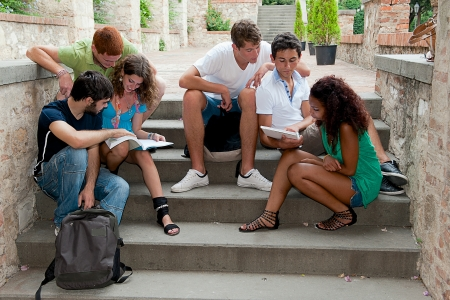 Multicultural Group of College Students,Italy Standard-Bild
