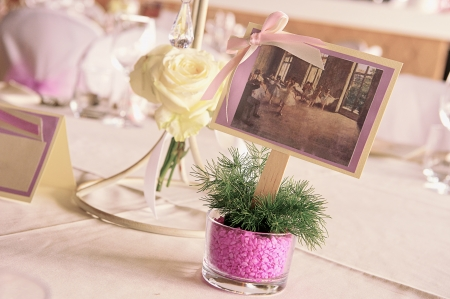 wedding tables set for fine dining photo