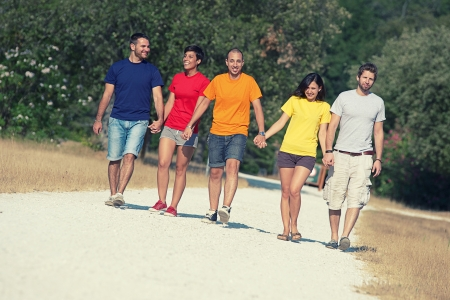Group of People Walking Together outdoor,Italy photo