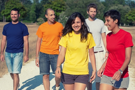 Group of People Walking Together outdoor,Italy Stock Photo