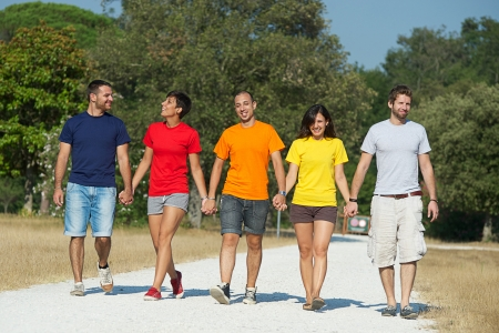 togheter: Group of People Walking Together outdoor,Italy Stock Photo