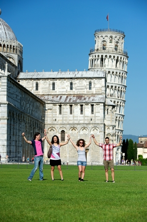 Tourists in Pisa, Italy photo