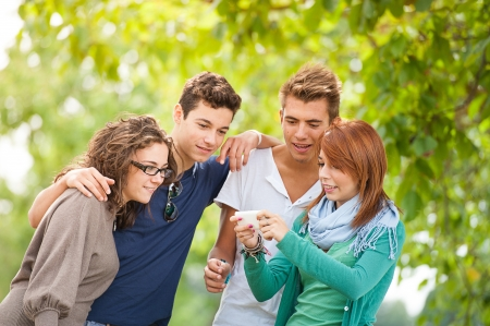 Group of teenagers posing for a group photograph,Italy Stock Photo