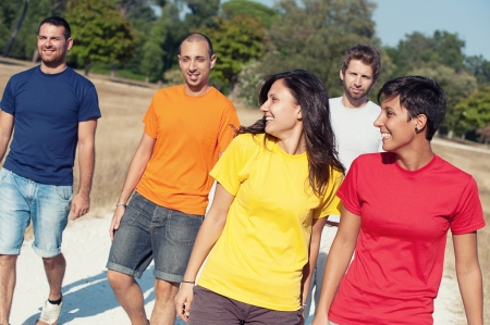 Group of Friends Walking Outside,Italy Stock Photo