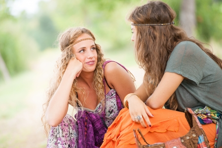 Two young beautiful girls hippie , Italy photo