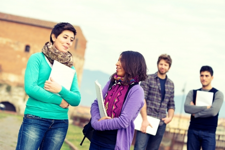 Multicultural College Students at Park,Tuscany,Italy Stock Photo - 15159843