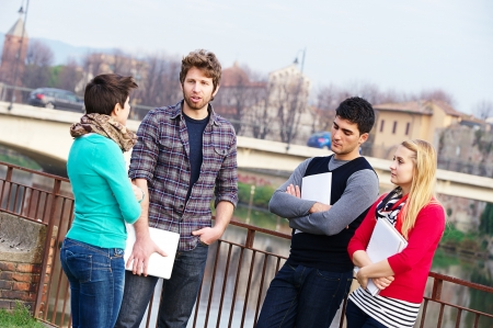 Multicultural College Students at Park,Tuscany,Italy Stock Photo - 15172021