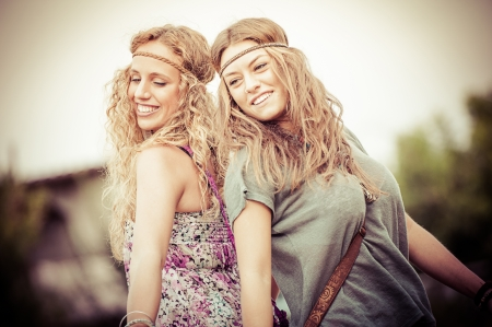 dancing disco: Two Beautiful Hippie Woman Dancing in the Countryside,Italy Stock Photo
