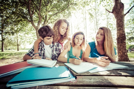 Teenage students working together at park,Italy Stock Photo