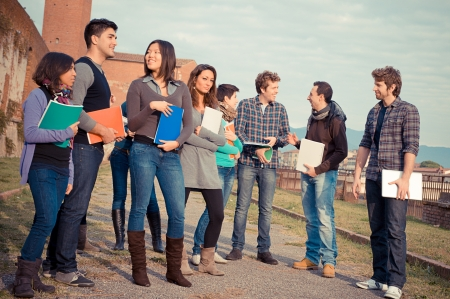 Multicultural College Students at Park,Tuscany,Italy Stock Photo - 15688343