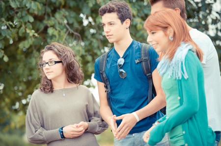 Group of Teenage Friends Outdoor,Italy Stock Photo