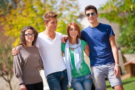 Group of Teenage Friends Outdoor,Italy Zdjęcie Seryjne