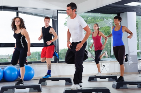 cardio fitness: Aerobics Class in a Gym, Italy