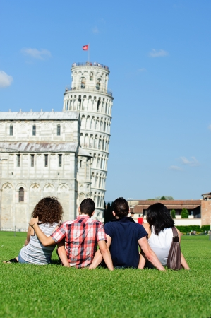 Four Friends on Vacation Visiting Pisa,Italy photo
