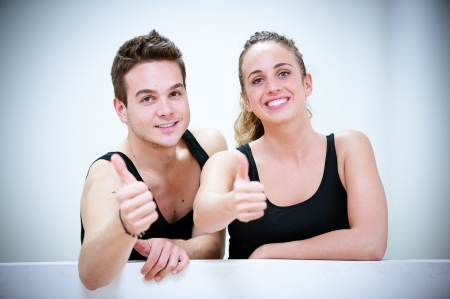 Two Smiling Persons after Fitness Exercises,Italy