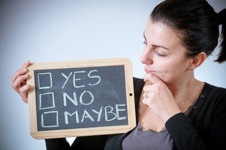 maybe: yes, no or maybe on a blackboard,Italy