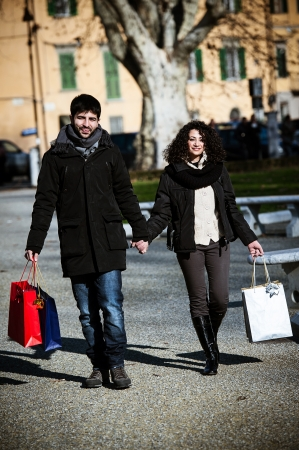 casual couple of lover in winter on the city,Italy photo