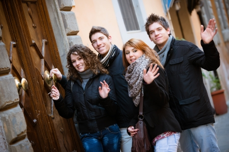 Some Friends in front of Home Main Entrance,Italy Stock Photo - 19203244