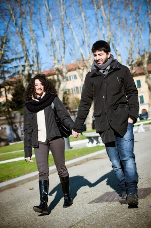 romatic: Romatic Young Couple Walking in the City,italy Stock Photo