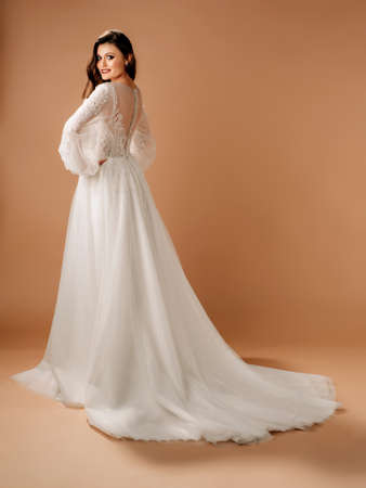 Posh wedding dress. Fashionable bridal gown with tender french lace and beads, long sleeves, tulle skirt. Contemporary design. Beautiful shot in studio on beige background.