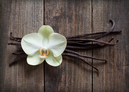 vanilla flower: Vanilla sticks and flower on the wood background Stock Photo