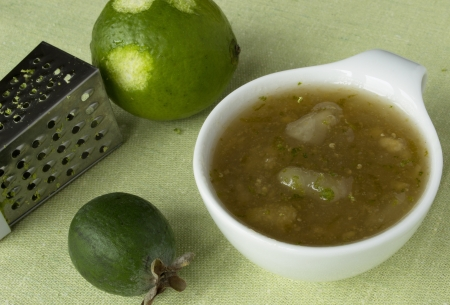 Homemade jam from feijoa and pears with lime  photo
